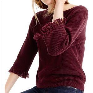 Crew neck sweater with fringe